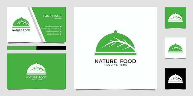 Logotipo de comida natural y tarjeta de visita.