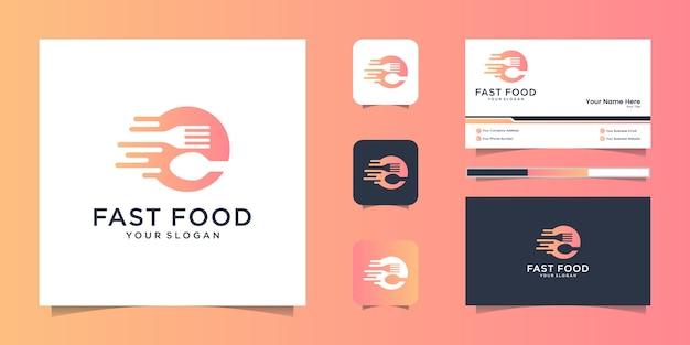 Logotipo de comida rápida y inspiración para tarjetas de presentación