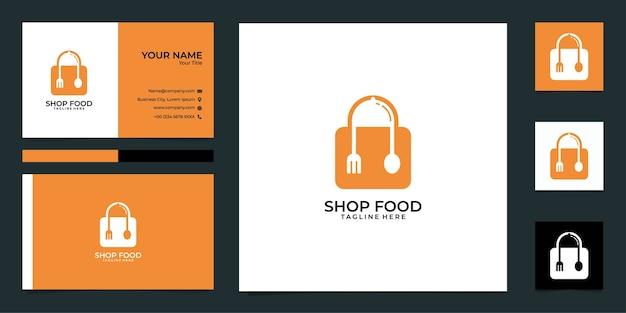 Logotipo de comida de tienda moderna y tarjeta de visita