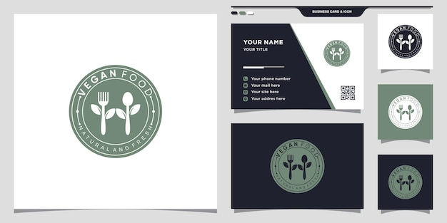 Logotipo de comida vegana para restaurante con concepto de espacio negativo. diseño de icono de logotipo y tarjeta de visita vector premium