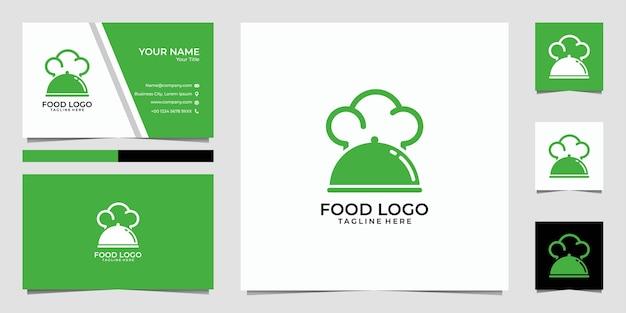 Logotipo de comida verde y tarjeta de visita