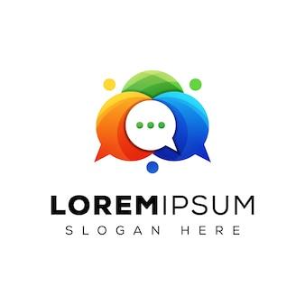 Logotipo de comunicación de chat de burbuja