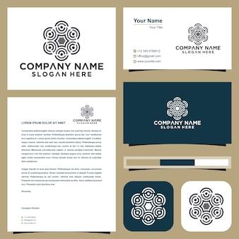 Logotipo de la comunidad de personas y tarjeta de visita premium