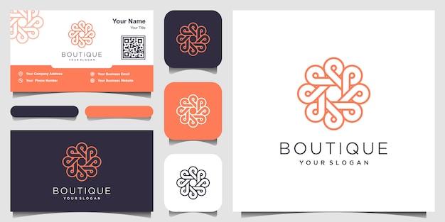 Logotipo de concepto de círculo de ornamento con estilo de arte de línea. infinito círculo símbolo redondeado ornamento monograma logotipo. diseño de tarjeta de visita