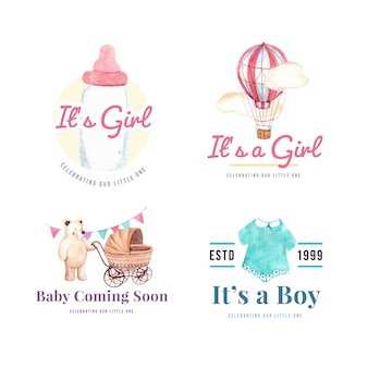 Logotipo con concepto de diseño de baby shower para marca y marketing ilustración vectorial acuarela.