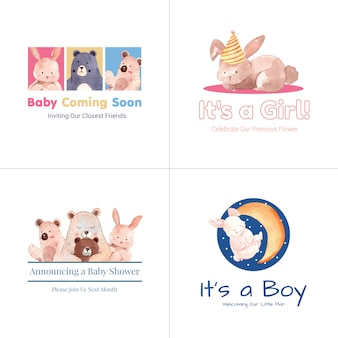 Logotipo con concepto de diseño de baby shower para marca y marketing ilustración vectorial acuarela.
