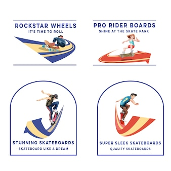 Logotipo con concepto de diseño de monopatín para marca y marketing ilustración vectorial de acuarela.