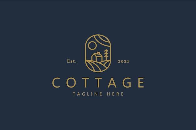 Logotipo de concepto simple de cabaña. ilustración naturaleza insignia identidad de marca.
