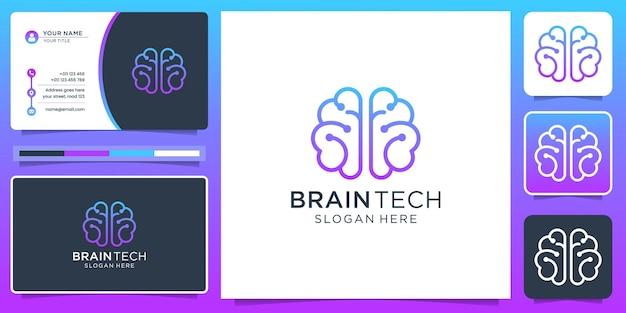 Logotipo de conexión cerebral y tarjeta de visita.