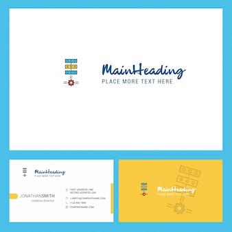 Logotipo de configuración de redes con lema y plantilla de tarjeta busienss frontal y posterior.