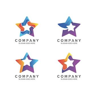 Logotipo de conjunto de estrellas degradado colorido