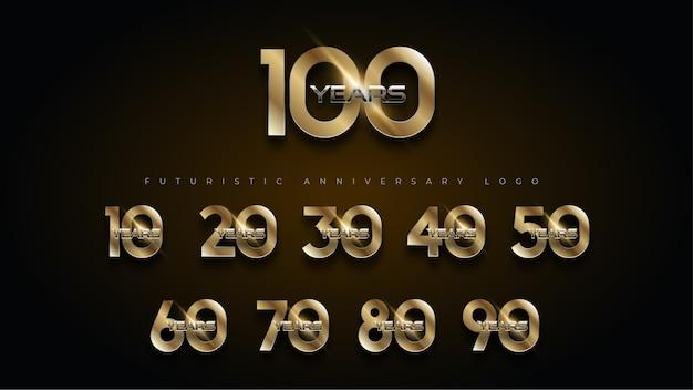 Logotipo de conjunto de números de aniversario de oro y plata de lujo de 100 años