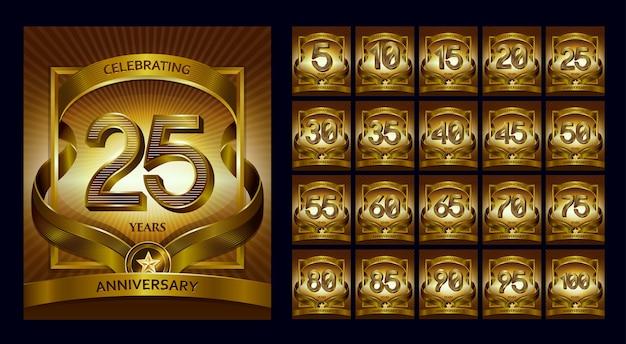Logotipo de conjunto de números de oro y aniversario de lujo de 25 años
