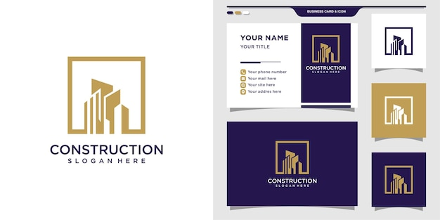 Logotipo de construcción con concepto cuadrado y diseño de tarjeta de visita.