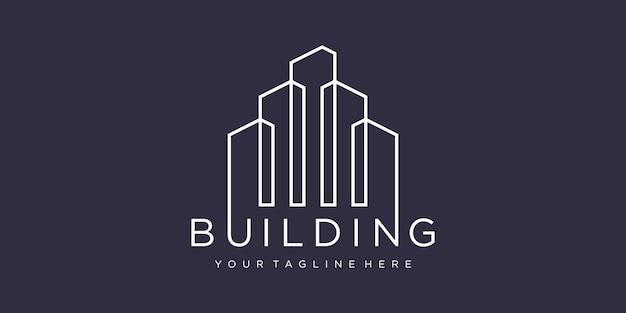 Logotipo de construcción con concepto de línea.