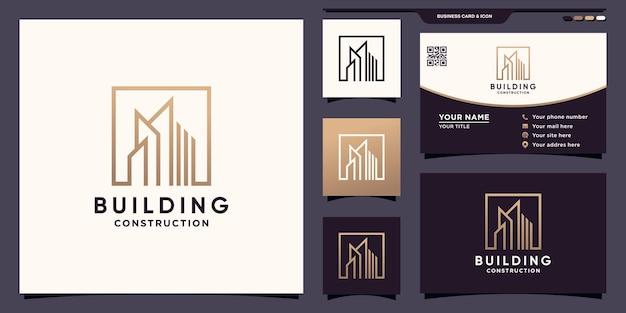 Logotipo de construcción de edificios con estilo cuadrado y diseño de tarjeta de visita vector premium