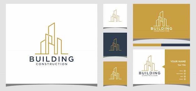 Logotipo de construcción de edificios y tarjeta de visita vector premium