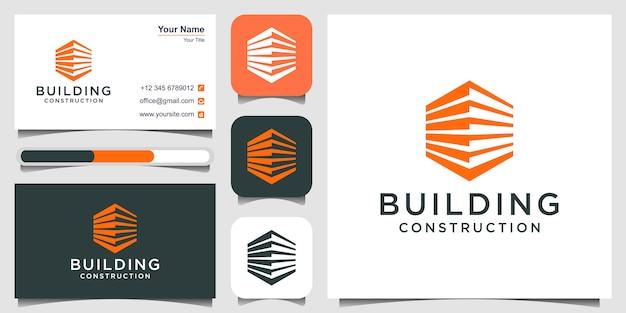 Logotipo de construcción de edificios y tarjetas de visita