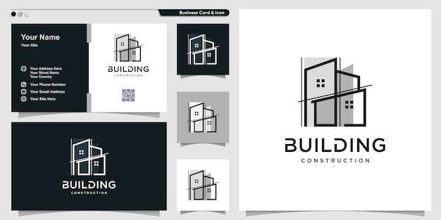Logotipo de construcción con un estilo de arte de línea único y diseño de tarjeta de presentación