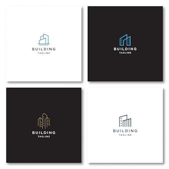 Logotipo de construcción con estilo de línea