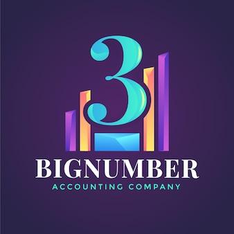 Logotipo de contabilidad degradado sobre fondo oscuro