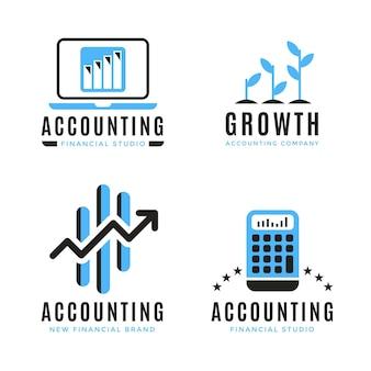 Logotipo de contabilidad de diseño plano sobre fondo blanco.