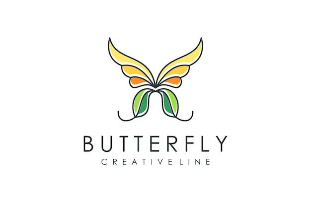 Logotipo de contorno de mariposa, animal moderno con estilo de contorno colorido