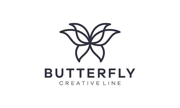 Logotipo de contorno mariposa elegante