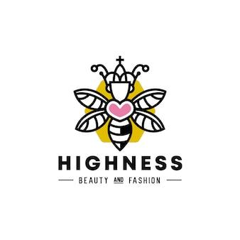 Logotipo del corazón de la abeja reina