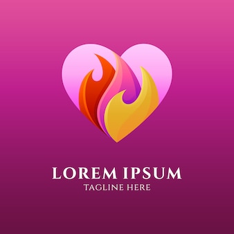 Logotipo de corazón / amor con fuego