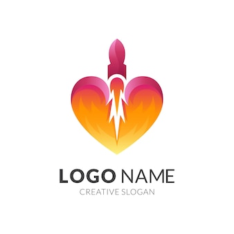 Logotipo de corazón y diseño de cohetes.
