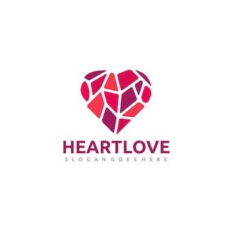 Logotipo de corazón low poly