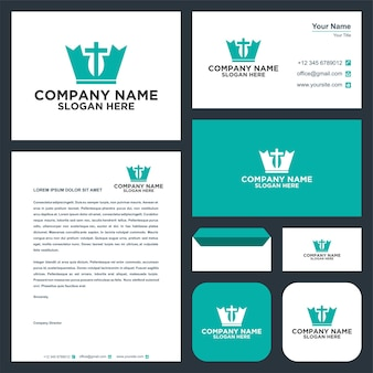 Logotipo de corona cristiana y tarjeta de visita