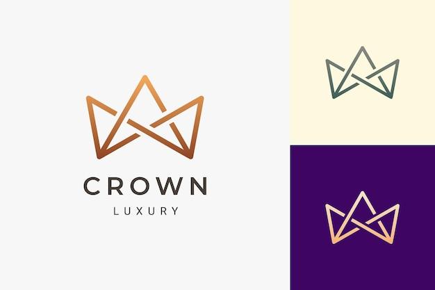 Logotipo de la corona en forma lujosa y limpia para negocios de belleza o joyería