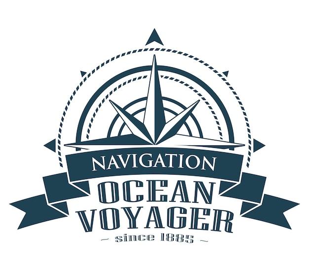 Logotipo corporativo con rosa de los vientos. emblema con banner aislado sobre fondo blanco. símbolo de navegación. ilustración vectorial.