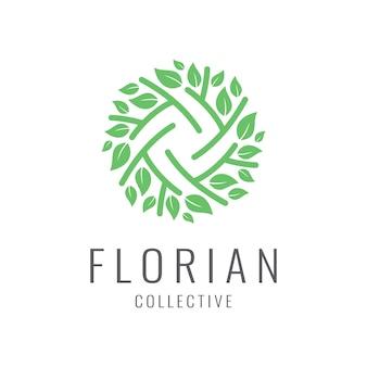 Logotipo cosmético natural con una bella flor,