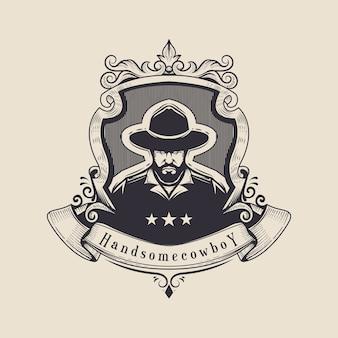 Logotipo cowboy vintage
