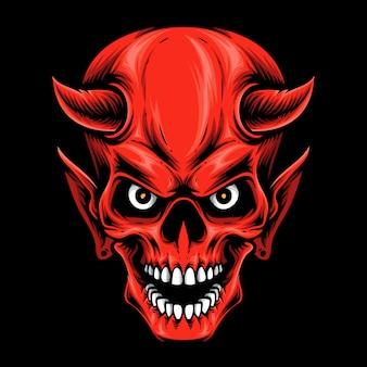 Logotipo del cráneo del diablo rojo