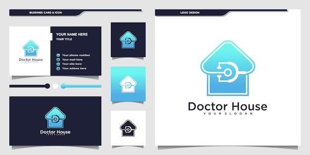 Logotipo de creative doctor house con degradados de color azul de lujo y diseño de tarjeta de visita premium vecto