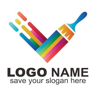 Logotipo de creative letter v
