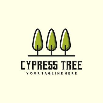 Logotipo creativo del árbol de ciprés