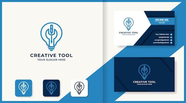 Logotipo creativo de bombilla de herramienta y tarjeta de visita.