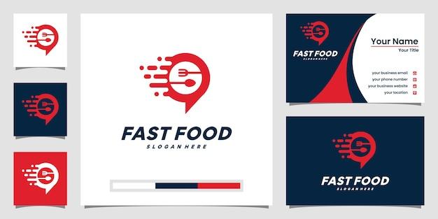 Logotipo creativo de comida rápida y diseño de tarjetas de presentación.
