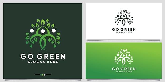 Logotipo creativo de go green nature con concepto de árbol humano vector premium