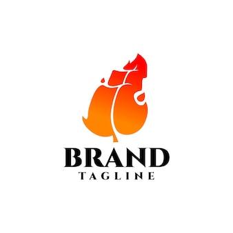 Logotipo creativo de hoja de fuego bueno para cualquier industria relacionada con el fuego o los minerales.