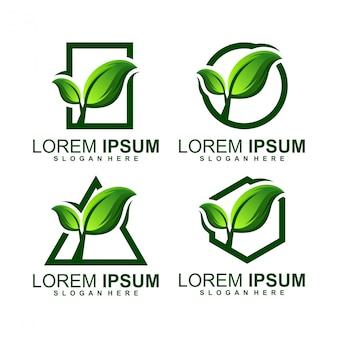 Logotipo de crecimiento de hoja