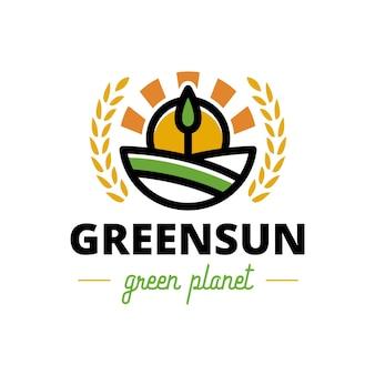 Logotipo de la cresta del sol del árbol verde de la naturaleza