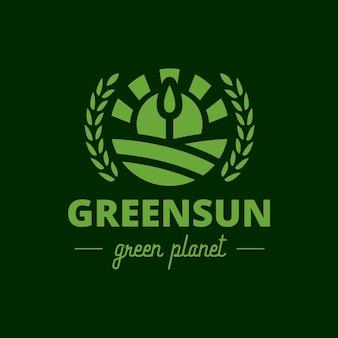 Logotipo de cresta de sol de árbol verde
