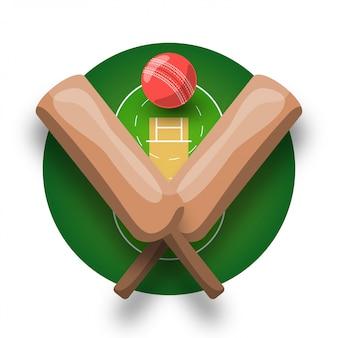 Logotipo de cricket con bate cruzado, pelota y campo. logotipo de plantilla y emblema de estilo retro de deporte profesional moderno.