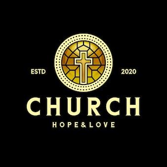 Logotipo de cruz de iglesia de cristal dorado